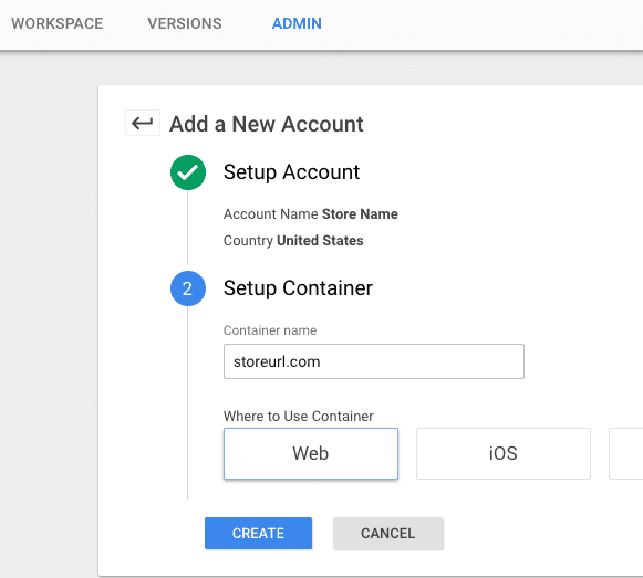 create a new tag manager account