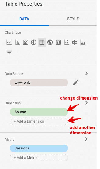 change dimension and metrics