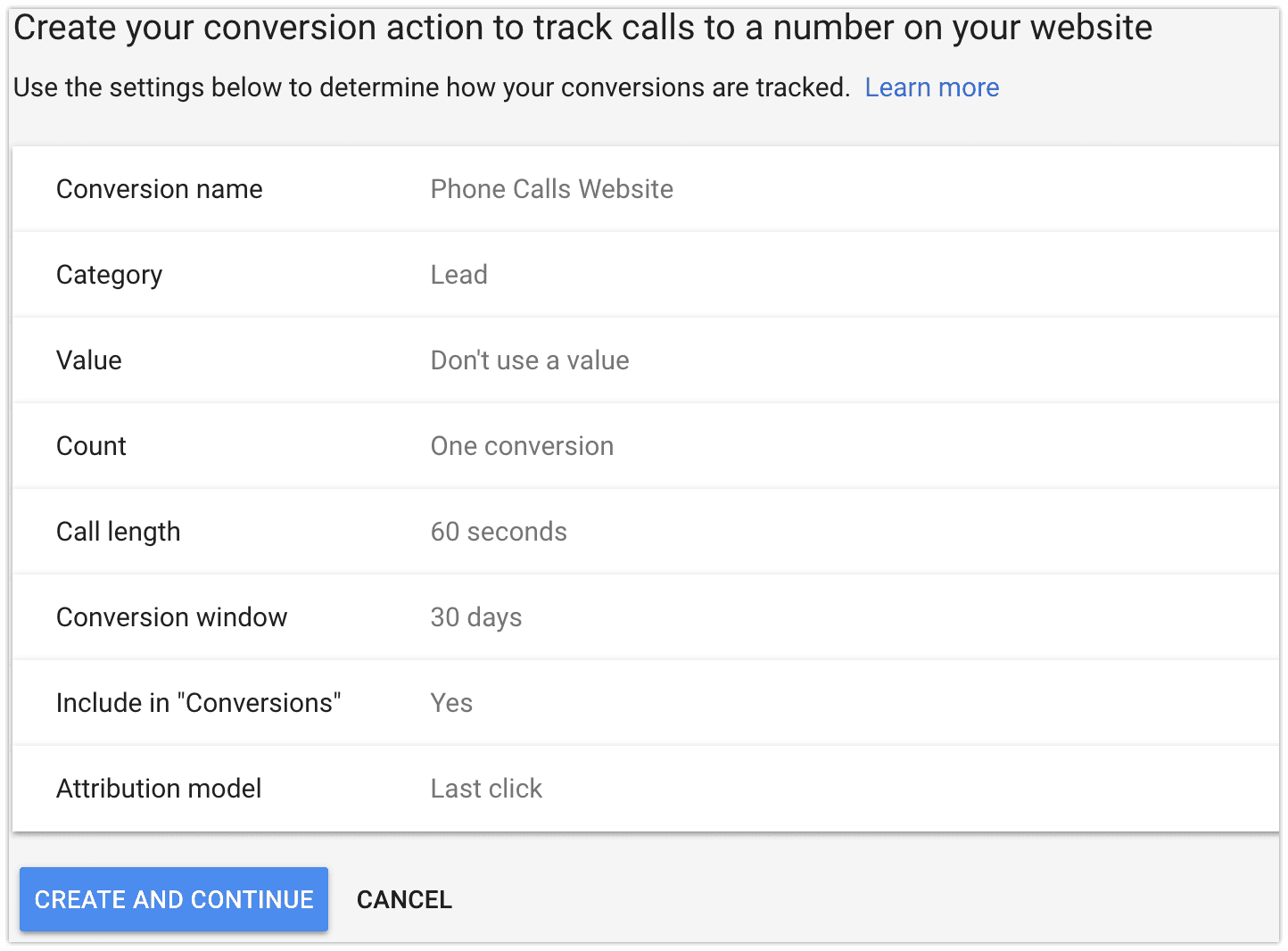 conversion tracking for website