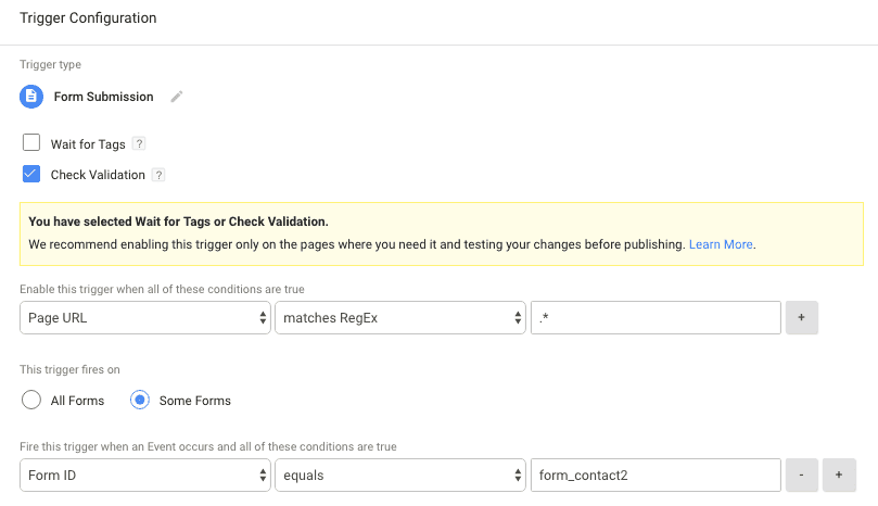 form submission tracking trigger