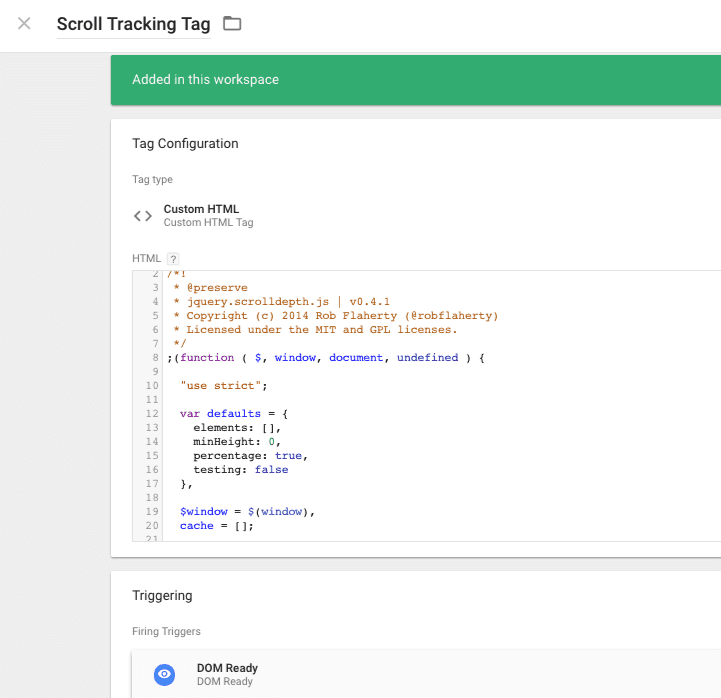 scroll tracking tag