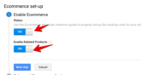 enable google analytics ecommerce tracking