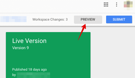 preview changes tag manager