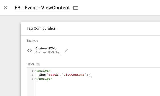 facebook viewcontent tag