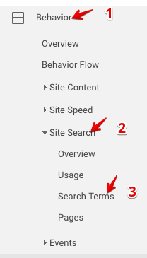 view site search reports