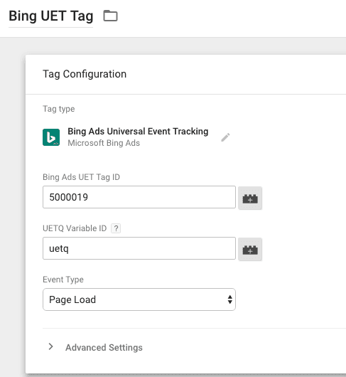 bing uet tag