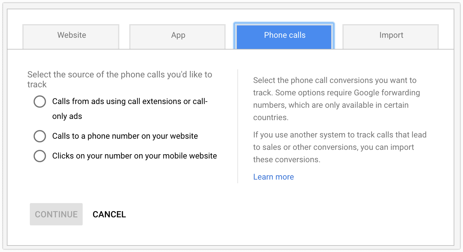 phone calls conversion tracking