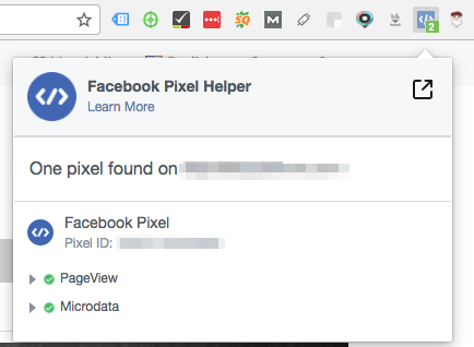 facebook pixel helper screenshot