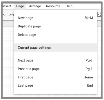 current page settings
